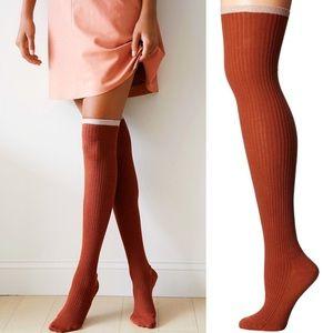 Free People Sable Lurex Over The Knee Socks